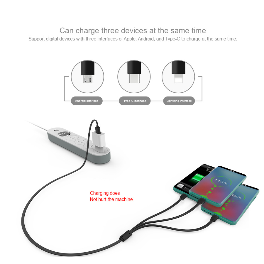 3 in 1 Micro Type-c Lightning USB Cable